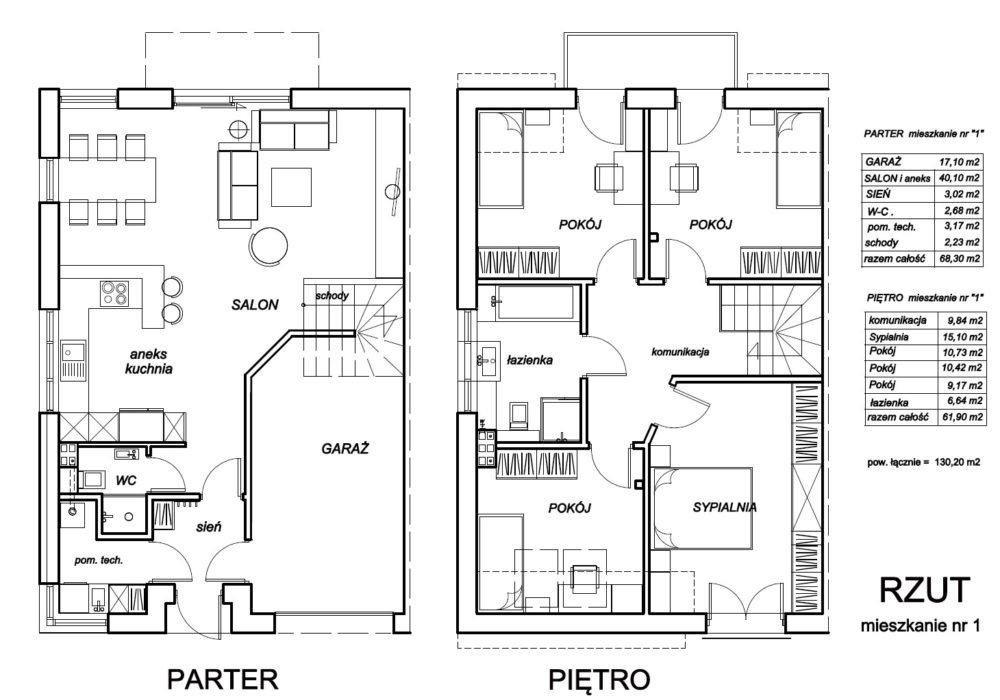 3a- rzut mieszkanie nr 1 - ARANŻACJA